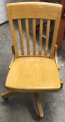 Antique Vintage Lawyers Bankers Library Oak Desk Office Chair
