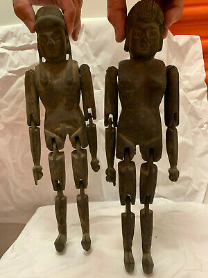 Set of 2  wooden jointed puppet / mannequin figures