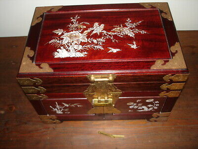 Vintage Asian Mother of Pearl Inlay with Brass Rosewood? Jewelry Box w/lock &key