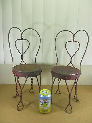 "Vintage Twisted Wrought Iron Heart Ice Cream Parlor Chairs Dolls & Bears 17.5"" H"