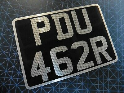 """7"""" x 5"""" Novelty Number Plate CARBON EFFECT BLACK AND SILVER CLASSIC"""