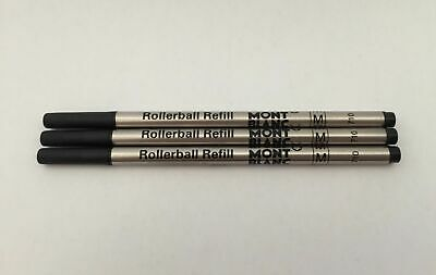 PRE ORDER -  x3 Black Medium Rollerball Refills Compatible with Mont Blanc