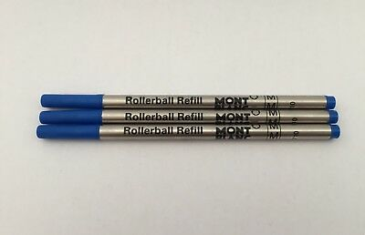 PRE ORDER - x3 Blue Medium Rollerball Refills Compatible with Mont Blanc