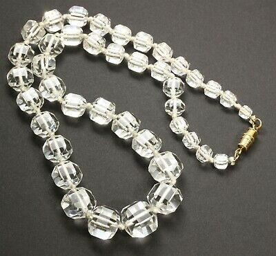 Vintage Art Deco Hand Knotted Graduated Faceted Geometric Crystal Bead Necklace