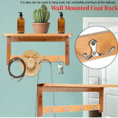 Wooden Bamboo Coat Hat Clothe Wall Mounted Holder Door Hook Rack with 4 Hooks
