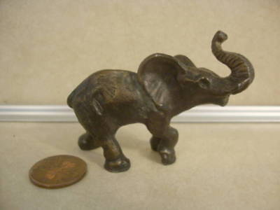 Vintage Collectible Brass Elephant Trunk Up Great Details Heavy Patina Sculpture