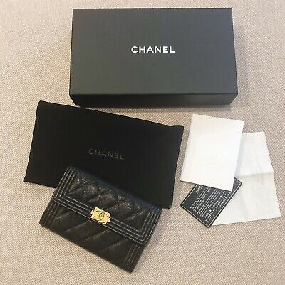 Authentic Chanel Medium Flap Boy Wallet Black Caviar with Gold Hardware