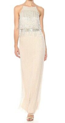 Adrianna Papell Women's Beige US 12 Fringed Embellished Gown Dress $289- #237