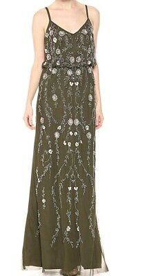 Adrianna Papell Women's Green US 14 Floral Embellished Gown Dress $349- #263