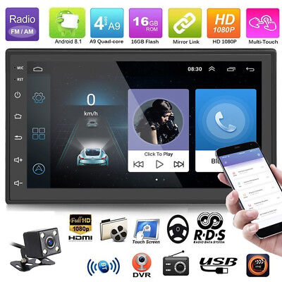 """Android 8.1 Double 2Din 7"""" MP5 Player Quad Core FM Radio Car Stereo with camera"""