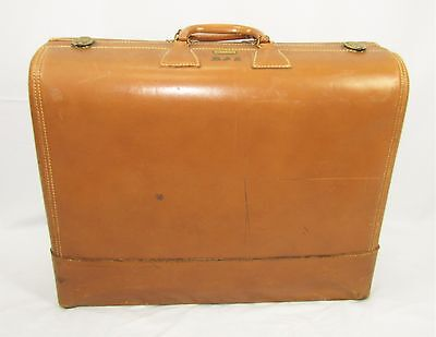 "Vintage WHEARY COLONEL Butterscotch Brown Leather Suitcase 23 1/2"" x 18 1/2"""