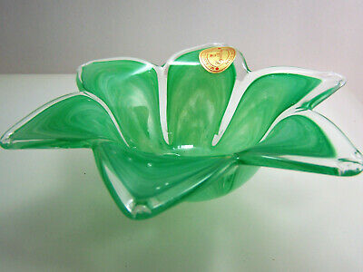 Murano Glass Green & Clear Flower Petal Bowl Dish Unused VTG 1990's Mouth Blown