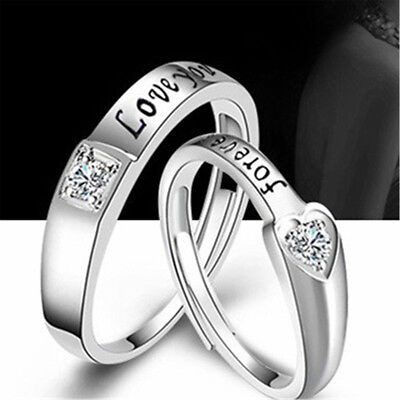 Couple Creative Silver Ring Jewelry Studded Universal Couple Gem Opening