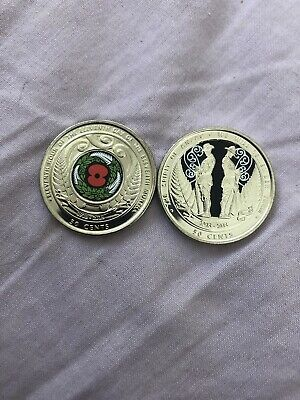 New Zealand 2015 And 2018 Anzac Armistance 50 Cent Coins