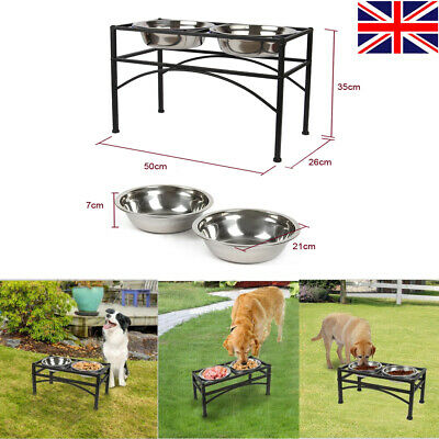 Large Black Double Elevated Raised Dog Pet Feeder Bowl Food Water Stand Tray