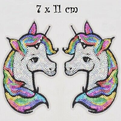 ÉCUSSON PATCH thermocollant, CHEVAL LICORNE sequin multicolore ** 7 x 11 cm **