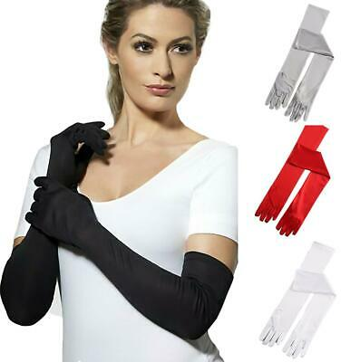 UK Stretch Satin Long Gloves Wrist Elbow Opera Evening Party Fancy Costume JS032