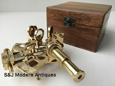 Antique Sextant Navigation Brass Nautical Marine Vintage With Wooden Box
