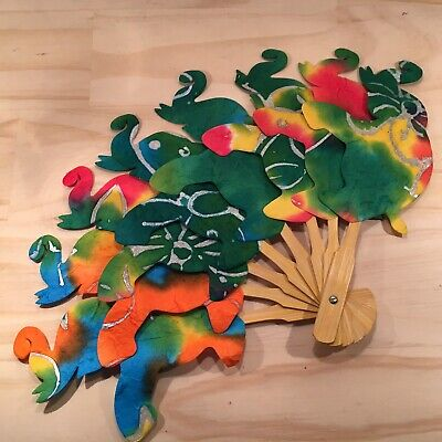 "TIE-DYED ELEPHANTS ""Green"" Beautiful Novelty Handheld Fan Folding Fan Accessory"