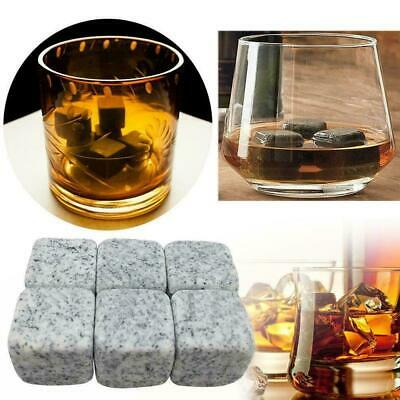 6Pcs Whisky Ice Stones Wine Drinks Cooler Cubes Whiskey Pouch Granite Rocks Z4J0
