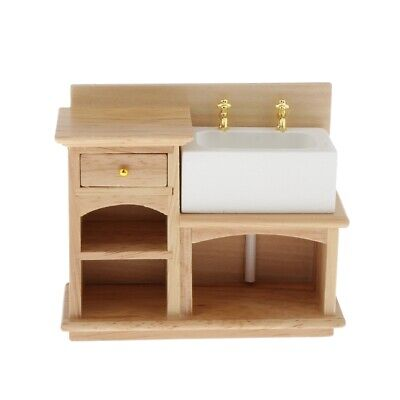 1:12 Dollhouse Furniture Miniature Wooden Stove Sink Cabinet Cupboard Decor