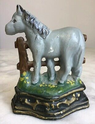 A Lovely Small Vintage Cast Iron Grey Horse Pony Doorstop 470G