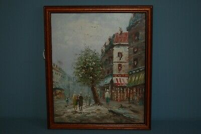 Attractive Framed & Signed Original Oil Painting of Town Scene
