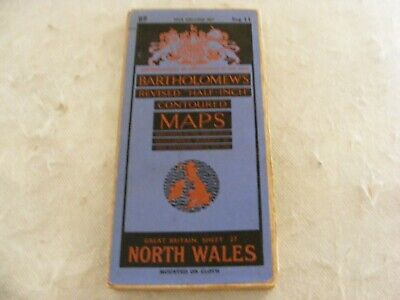 Vintage Half Inch Map Bartholomew's Sheet 27 North Wales Fold Out Cloth Backing