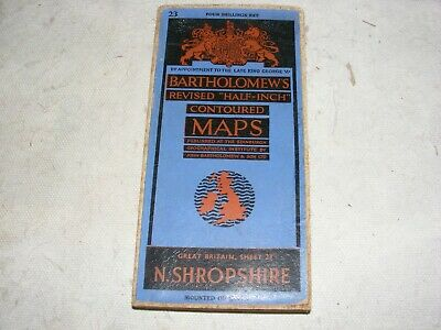 Vintage Half Inch Map Bartholomew's Sheet 23 North Shropshire Fold Out Cloth