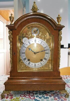 W&H Golden Oak & Ormolo Bracket Clock Ting Tang in Good Working Order