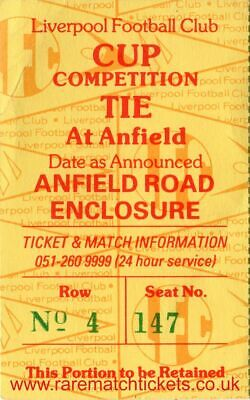 original 1984-85 european cup semi final LIVERPOOL PANATHINAIKOS ticket unfolded