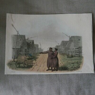 Antique Early 19Th Century Hand Coloured Engraving Russian Village By F C Lewis