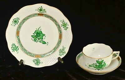 Herend Chinese Bouquet green gold 3 piece tea cup saucer & salad plate excellent
