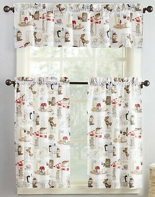 "Curtains Set: 2 Tiers 54/""x14/"" /& Valance 27/""x36/"" 3 Pc red MS KITCHEN ITEMS"