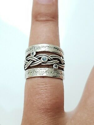Vintage Sterling Silver Size 8 Israel Engraved Stones Band Ring, Estate Jewelry