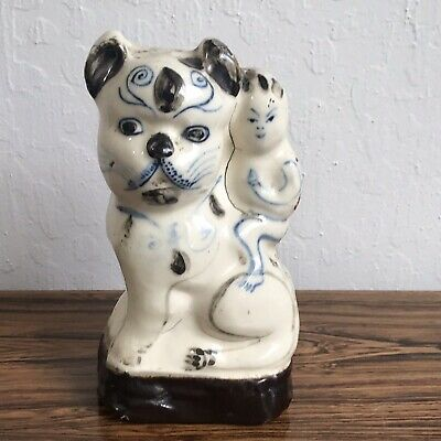 Antique Chinese Porcelain Figure Boy On A Cat (dog?)