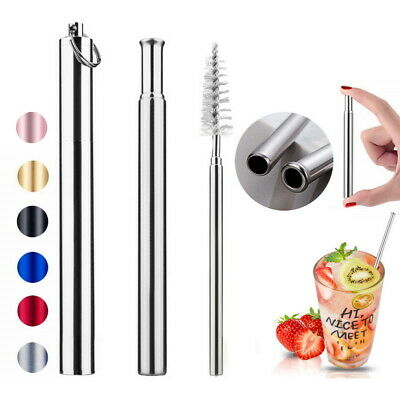 1 Pack Reusable Telescopic Drinking Straws With Metal Case & Folding Brush Set