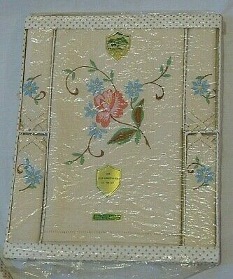 "Vintage Embroidered Irish Linen 44"" Tea Set Tablecloth 4 Napkins Standall Boxed"