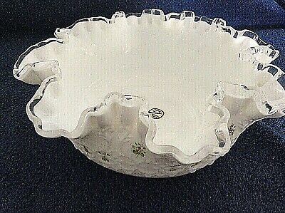 Antique Fenton Hand painted milk glass bowl floral signed by kay whitman