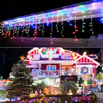 Multi-color 96-960 LED Fairy Hanging Icicle Snow Curtain Xmas Party String Light