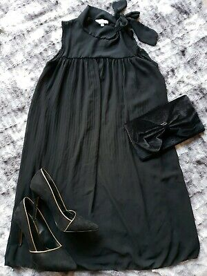 Black Chiffon Pleated Style Sleeveless Pussybow Dress Maternity 12/14 Large