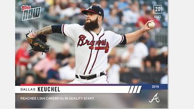 2019 TOPPS NOW CARD ATLANTA BRAVES DALLAS KEUCHEL #721 REACHES 1000 CAREER Ks