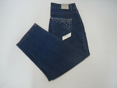 NEW Laura Ashley Womens 6 Blue Jeans Capri Cropped Pants Embellished NWT