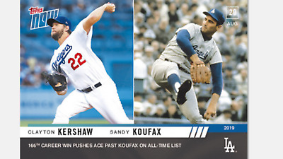 2019 Topps Now Card Dodgers Clayton Kershaw Passes Sandy Koufax #723 All Wins