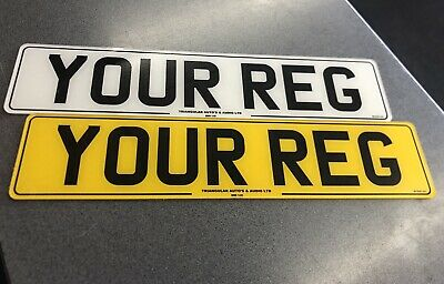 Pair Of Number Plates With 2mm Border Front & Rear / Back MOT Road Legal