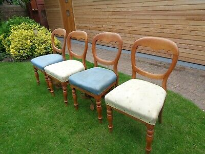 Victorian balloon back ANTIQUE SET 4 chairs in need of restoration collect only