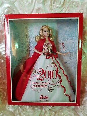 Mattel Holiday Barbie Collector Doll Beautiful Red & White Gown 2010