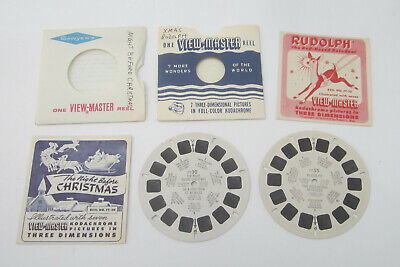 Sawyers ViewMaster 1939 Rudolph Red Nose Reindeer & 1952 Night Before Christmas