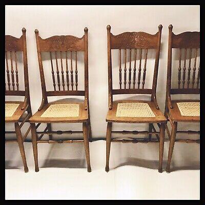 Set Of 4 Antique Oak Chairs With Pressed Back, Cane Seat And Spindles