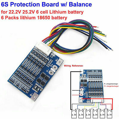 6S 25.2V Li-ion 18650 Lithium Battery BMS Protection PCB Board w/ Balance 8A Hot